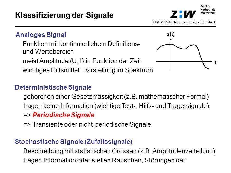 Klassifizierung der Signale