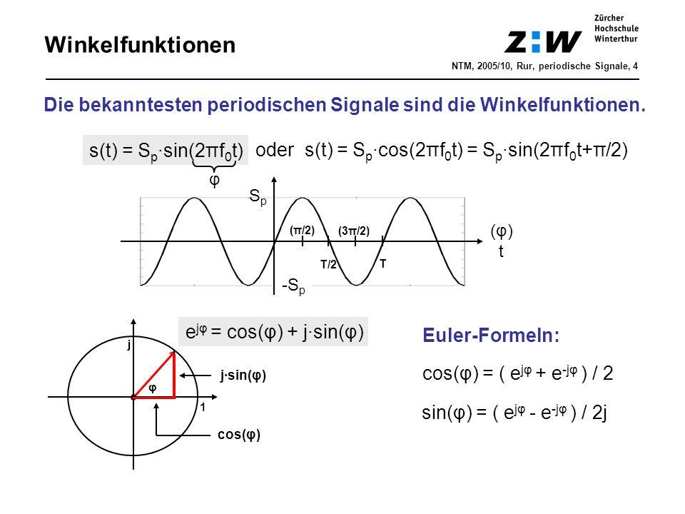 Winkelfunktionen NTM, 2005/10, Rur, periodische Signale, 4. Die bekanntesten periodischen Signale sind die Winkelfunktionen.