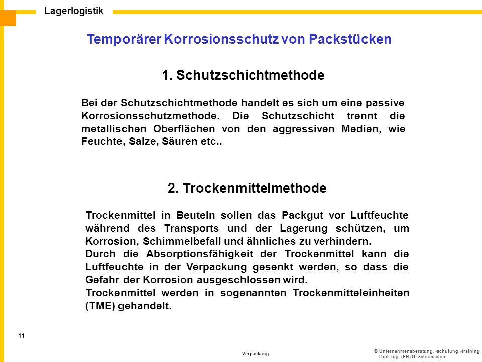 Temporärer Korrosionsschutz von Packstücken 1. Schutzschichtmethode