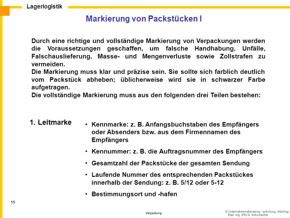 Markierung von Packstücken I