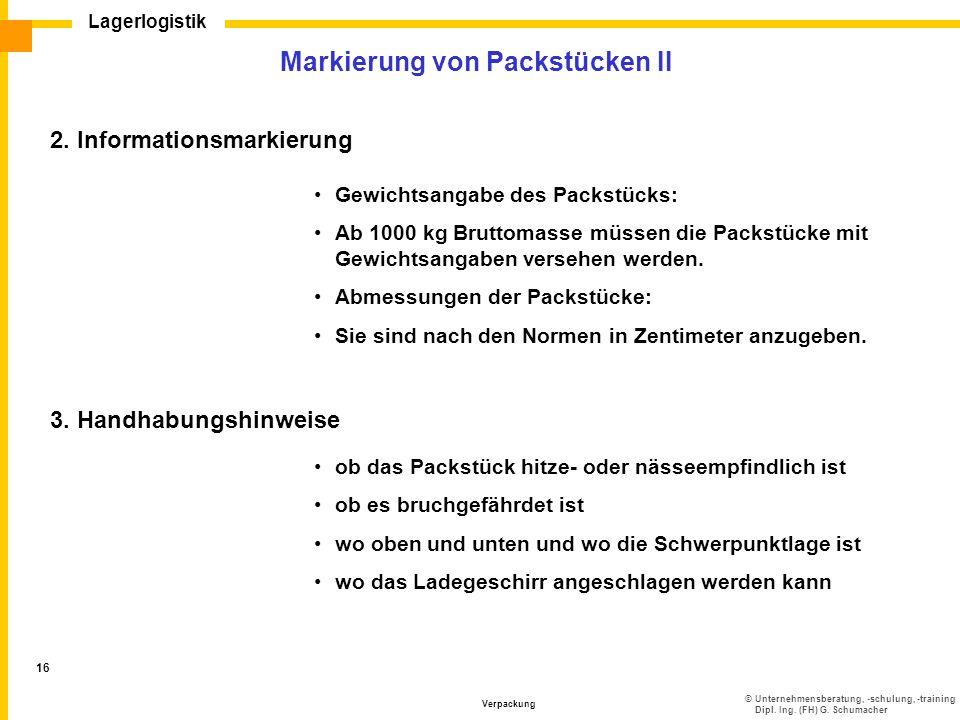 Markierung von Packstücken II