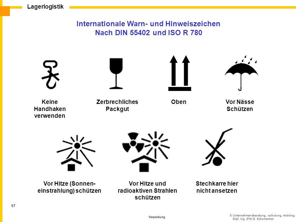 Internationale Warn- und Hinweiszeichen Nach DIN 55402 und ISO R 780