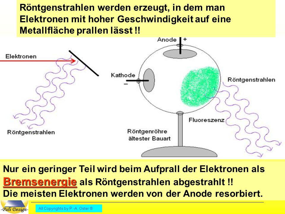 Röntgenstrahlen werden erzeugt, in dem man Elektronen mit hoher Geschwindigkeit auf eine Metallfläche prallen lässt !!