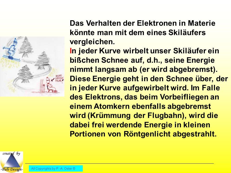 Das Verhalten der Elektronen in Materie könnte man mit dem eines Skiläufers vergleichen. In jeder Kurve wirbelt unser Skiläufer ein bißchen Schnee auf, d.h., seine Energie nimmt langsam ab (er wird abgebremst). Diese Energie geht in den Schnee über, der in jeder Kurve aufgewirbelt wird. Im Falle des Elektrons, das beim Vorbeifliegen an einem Atomkern ebenfalls abgebremst wird (Krümmung der Flugbahn), wird die dabei frei werdende Energie in kleinen Portionen von Röntgenlicht abgestrahlt.