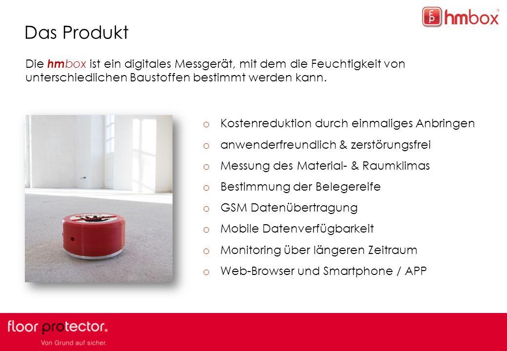 Das Produkt Die hmbox ist ein digitales Messgerät, mit dem die Feuchtigkeit von unterschiedlichen Baustoffen bestimmt werden kann.