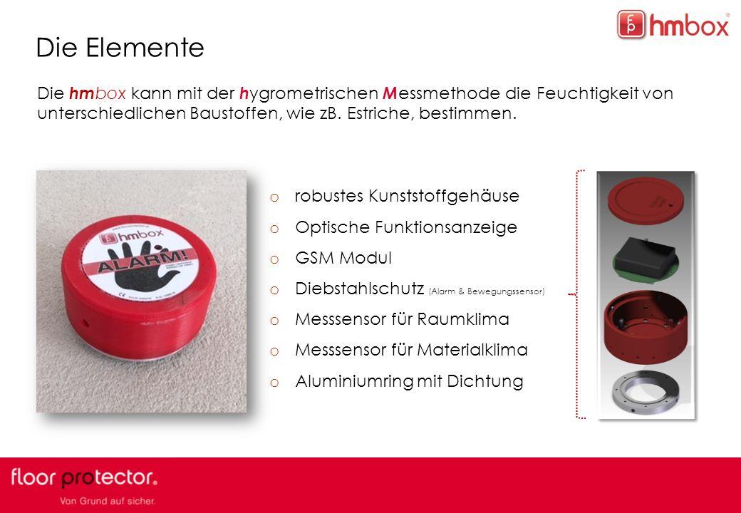 Die Elemente Die hmbox kann mit der hygrometrischen Messmethode die Feuchtigkeit von unterschiedlichen Baustoffen, wie zB. Estriche, bestimmen.