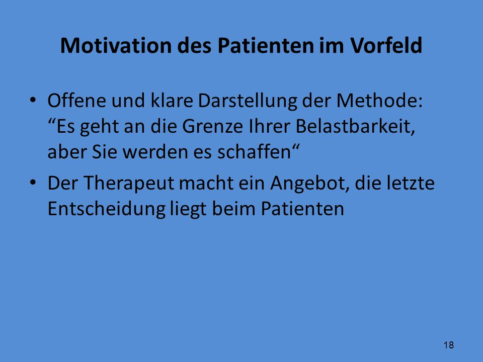 Motivation des Patienten im Vorfeld