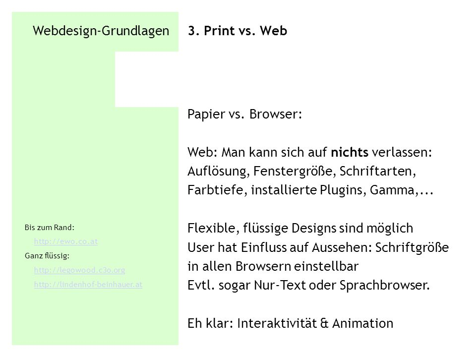 Webdesign-Grundlagen 3. Print vs. Web