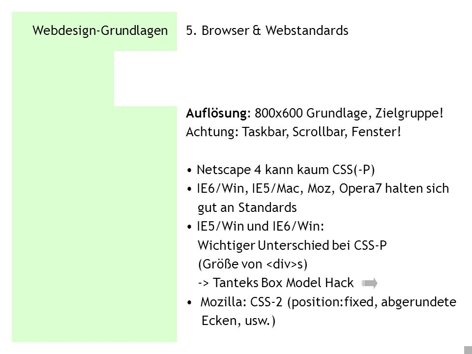 Webdesign-Grundlagen 5. Browser & Webstandards
