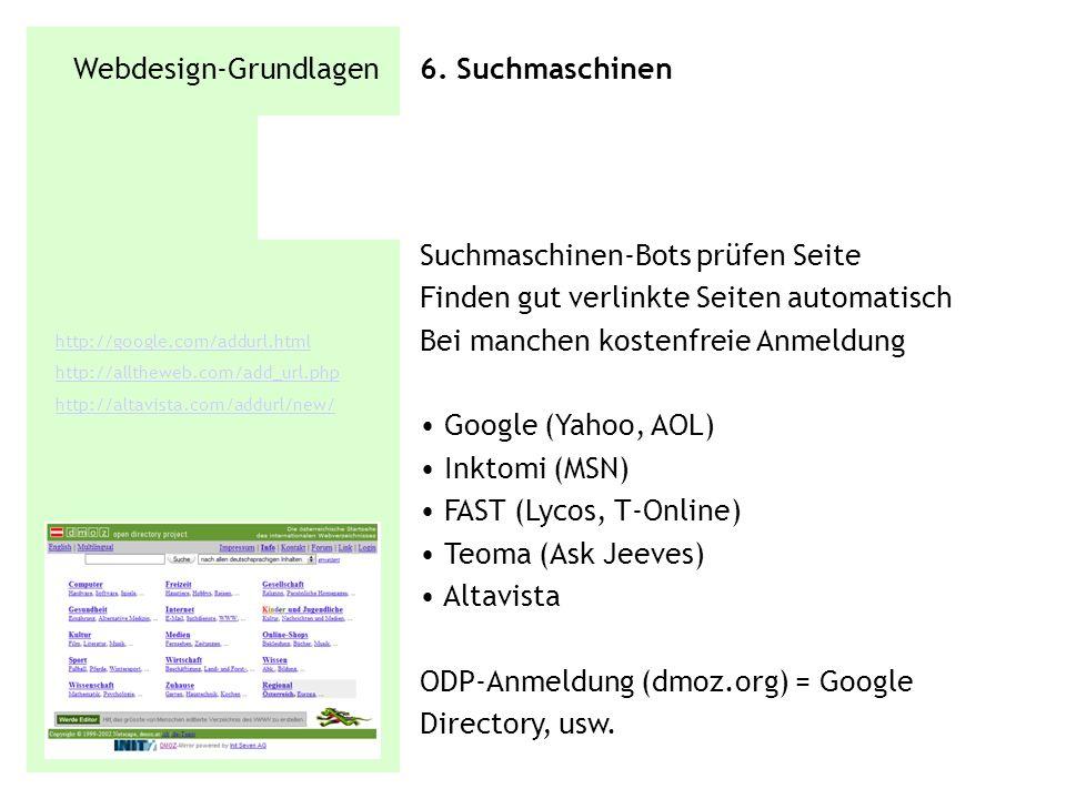 Webdesign-Grundlagen 6. Suchmaschinen