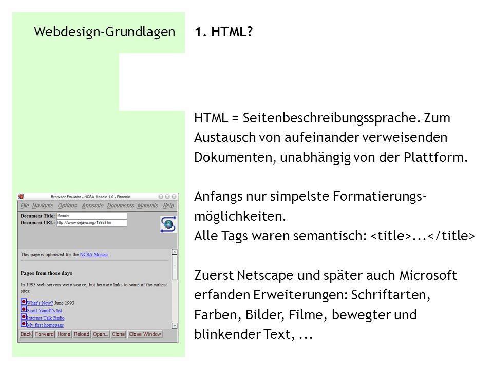 Webdesign-Grundlagen 1. HTML
