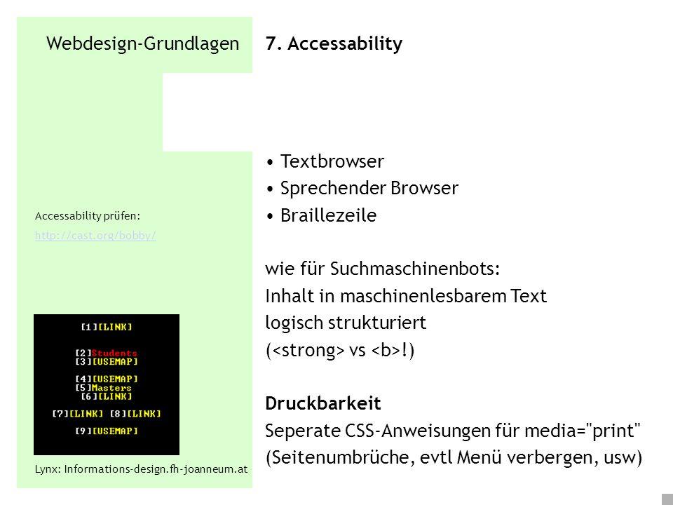 Webdesign-Grundlagen 7. Accessability