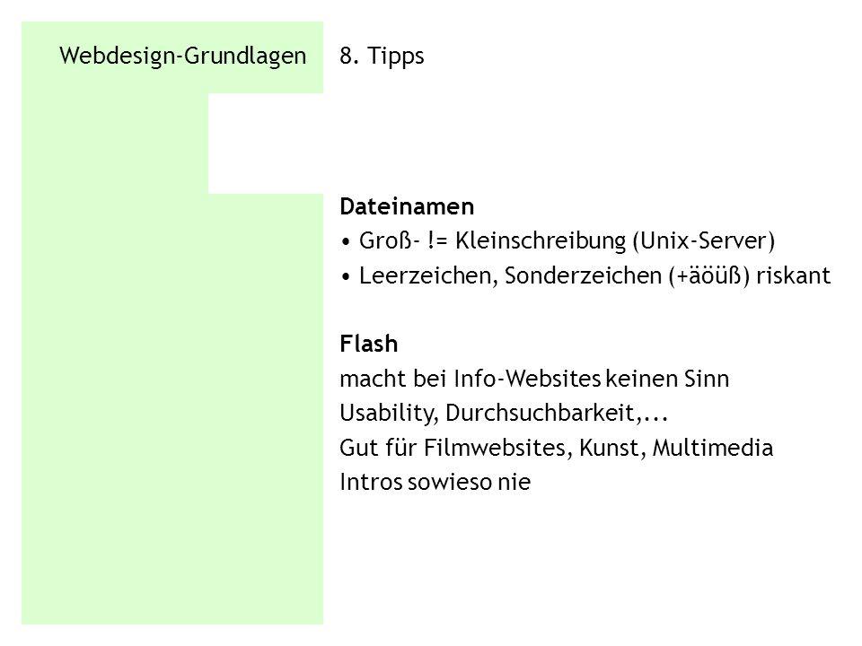 Webdesign-Grundlagen 8. Tipps