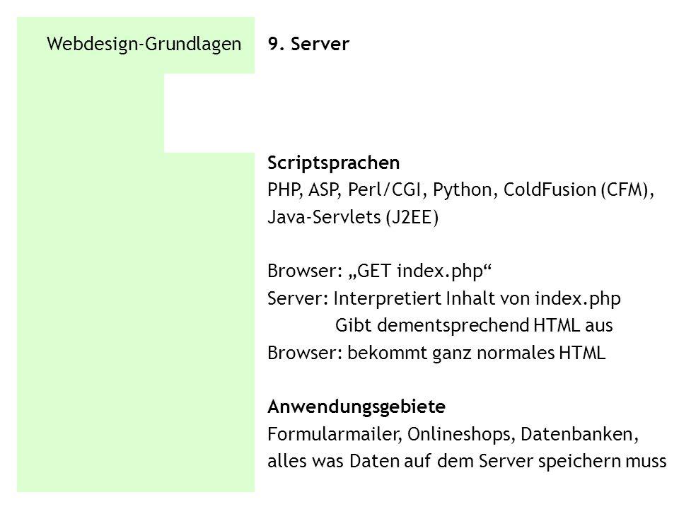 Webdesign-Grundlagen 9. Server