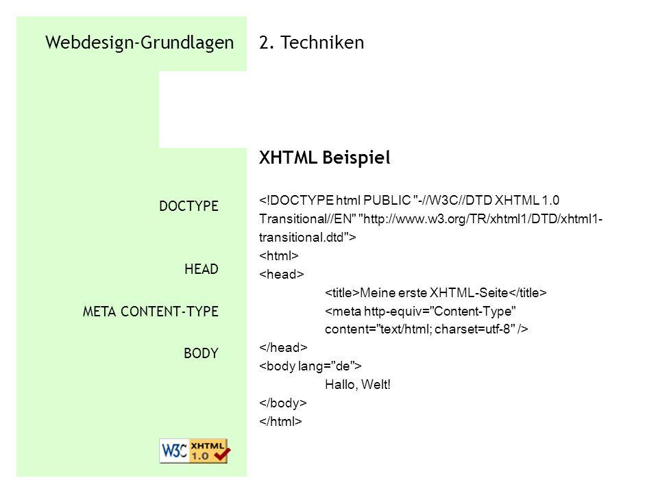 Webdesign-Grundlagen 2. Techniken