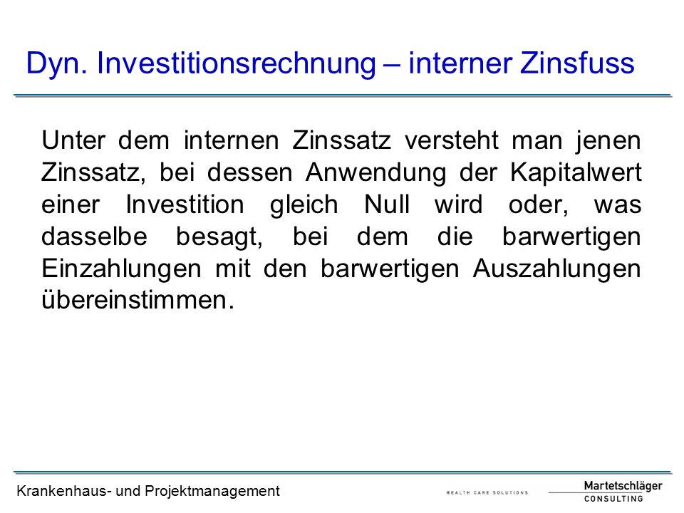 Dyn. Investitionsrechnung – interner Zinsfuss