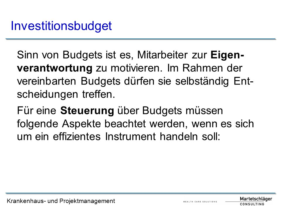 Investitionsbudget