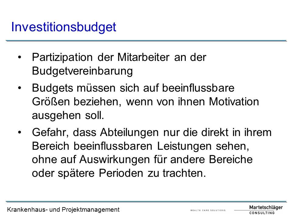 Investitionsbudget Partizipation der Mitarbeiter an der Budgetvereinbarung.