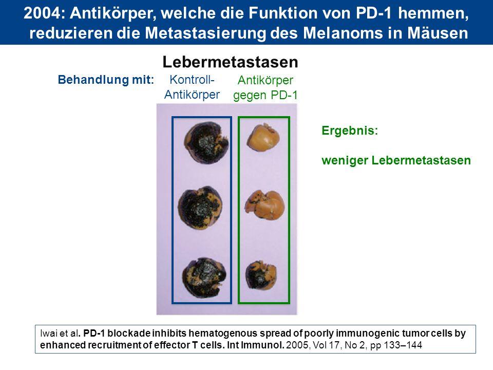 2004: Antikörper, welche die Funktion von PD-1 hemmen,