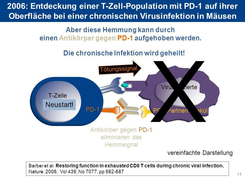 2006: Entdeckung einer T-Zell-Population mit PD-1 auf ihrer Oberfläche bei einer chronischen Virusinfektion in Mäusen