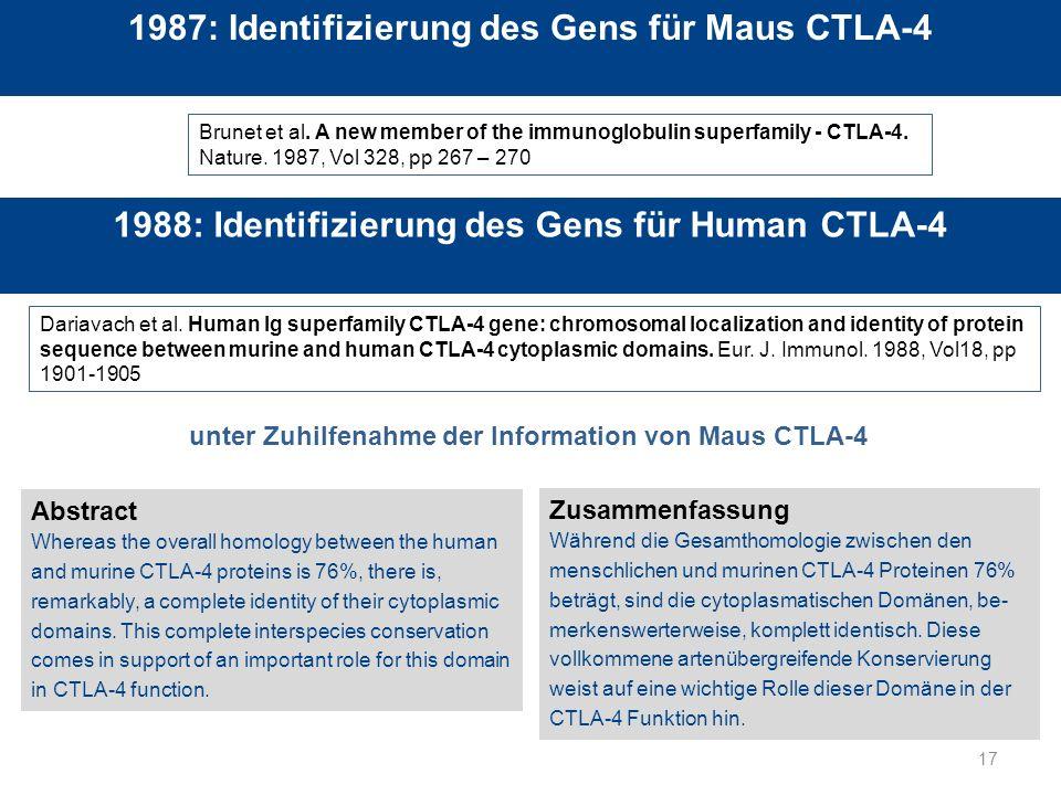 1987: Identifizierung des Gens für Maus CTLA-4