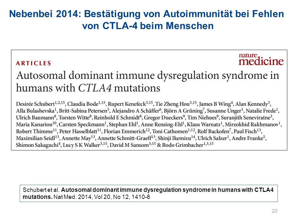 Nebenbei 2014: Bestätigung von Autoimmunität bei Fehlen