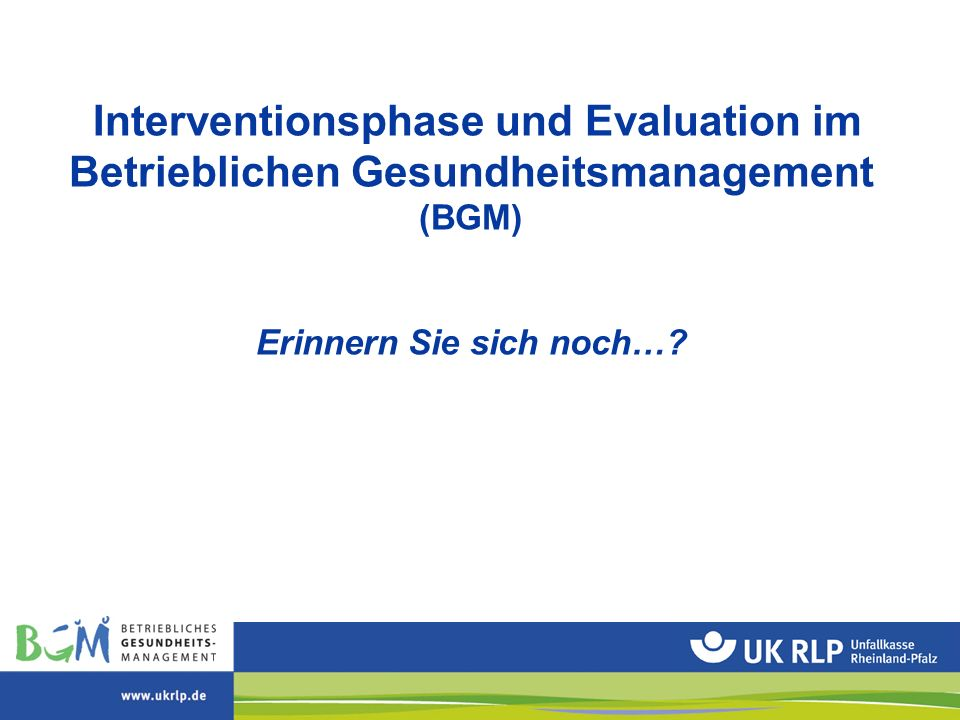 Interventionsphase und Evaluation im