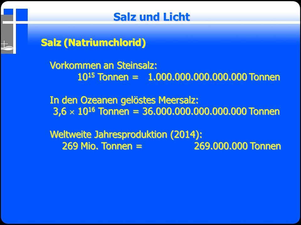 Salz und Licht Salz (Natriumchlorid) Vorkommen an Steinsalz: