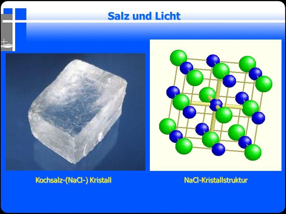 Salz und Licht Kochsalz-(NaCl-) Kristall NaCl-Kristallstruktur