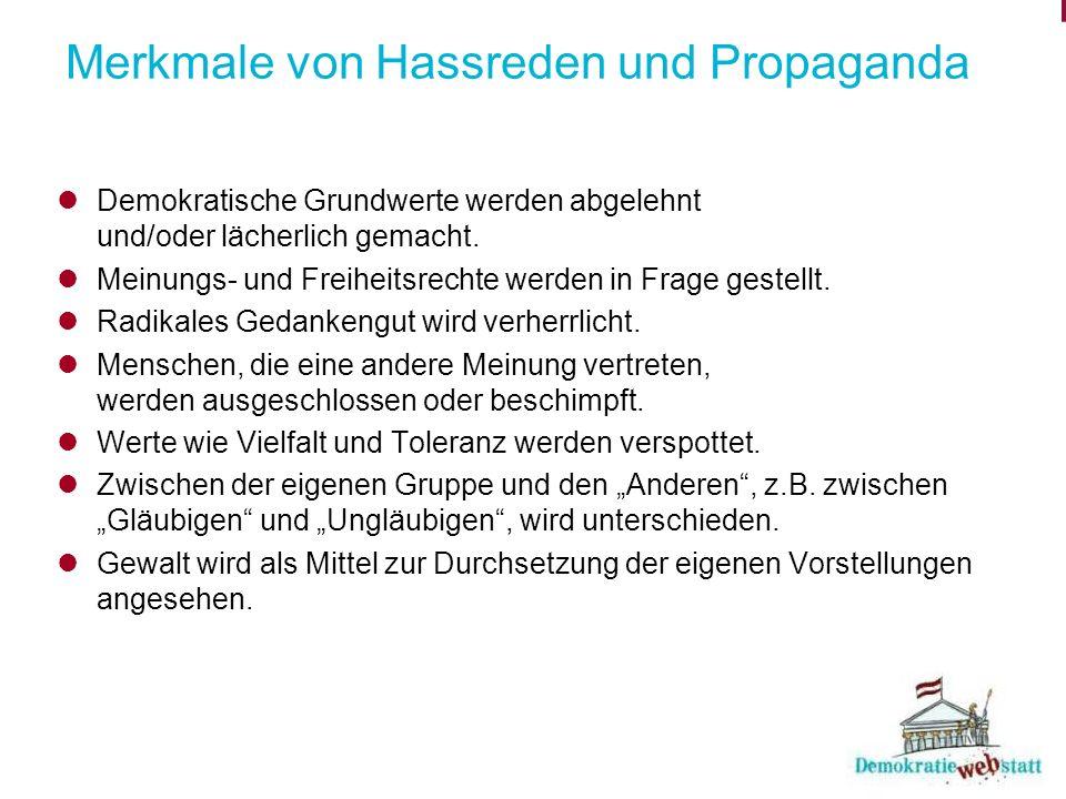 Merkmale von Hassreden und Propaganda