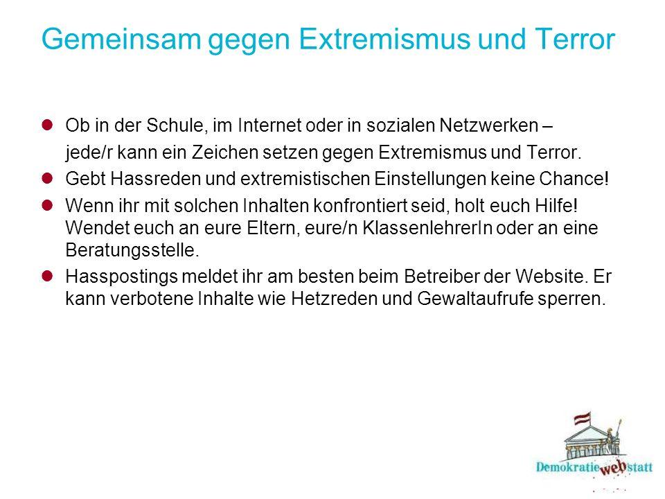 Gemeinsam gegen Extremismus und Terror