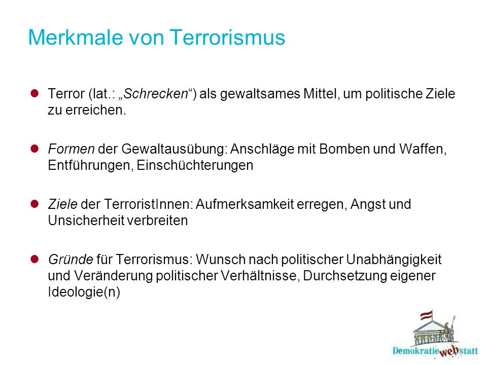 Merkmale von Terrorismus