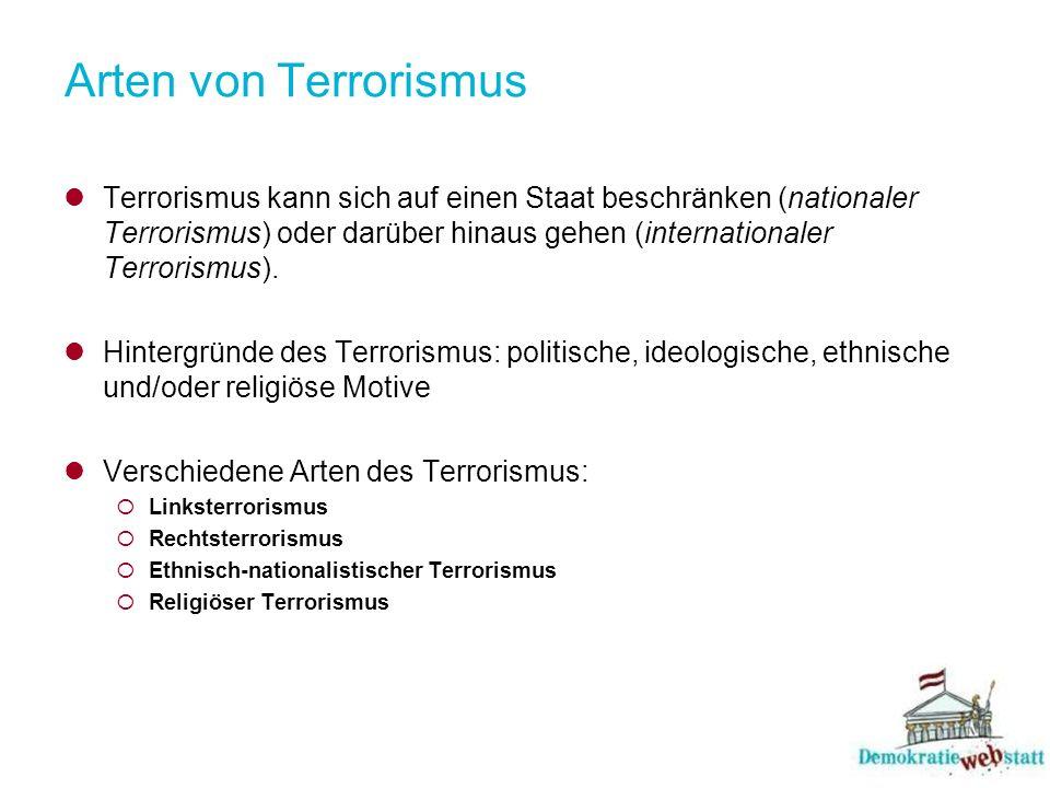 Arten von Terrorismus