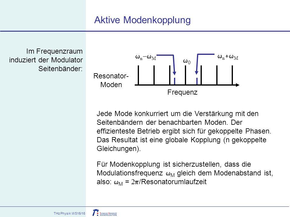 Aktive Modenkopplung Im Frequenzraum induziert der Modulator Seitenbänder: wn+wM. wn-wM. Frequenz.