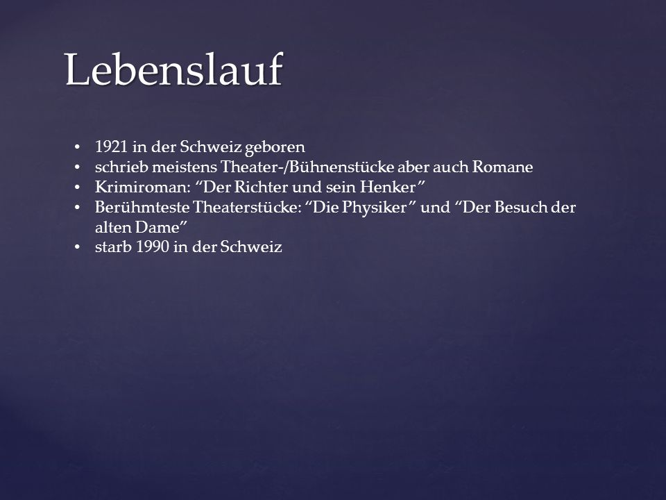 Lebenslauf 1921 in der Schweiz geboren