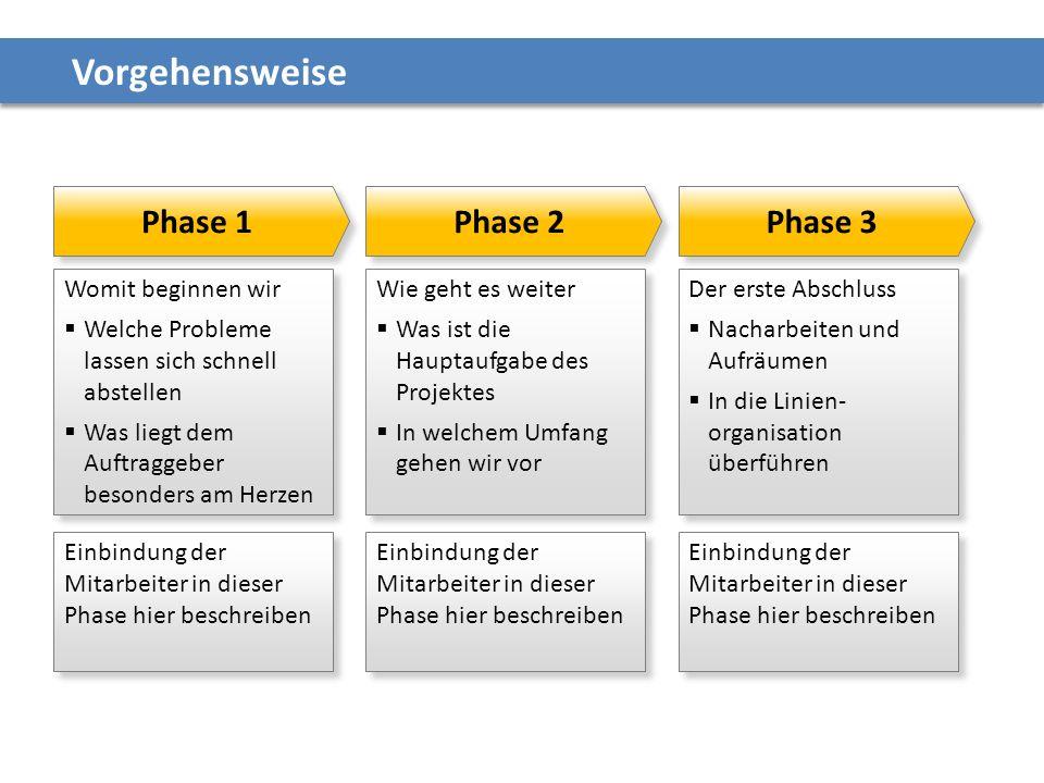 Vorgehensweise Phase 1 Phase 2 Phase 3 Womit beginnen wir