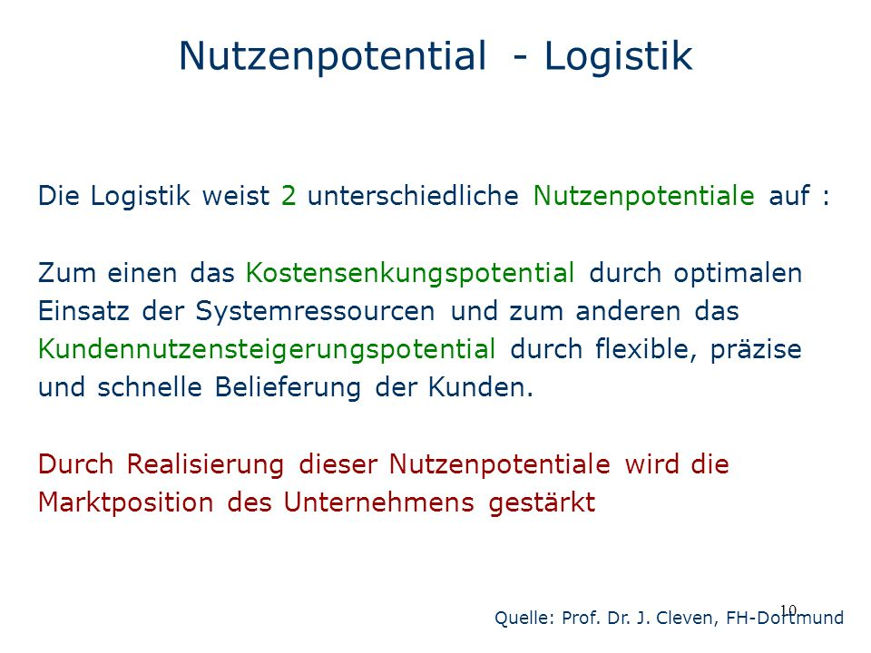 Nutzenpotential - Logistik