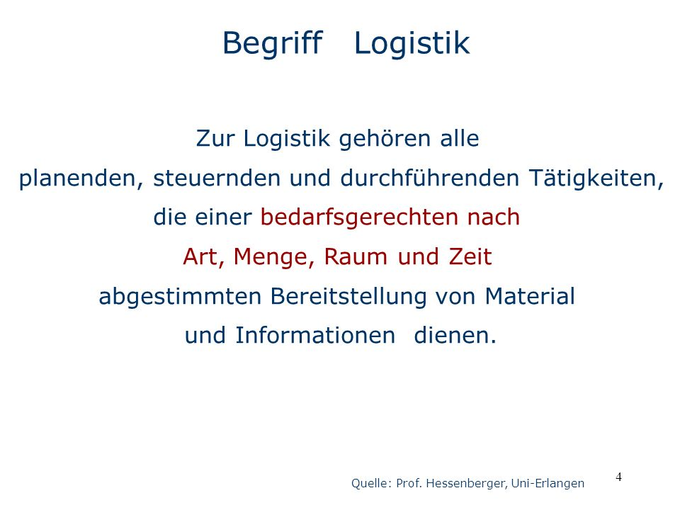 Begriff Logistik Zur Logistik gehören alle