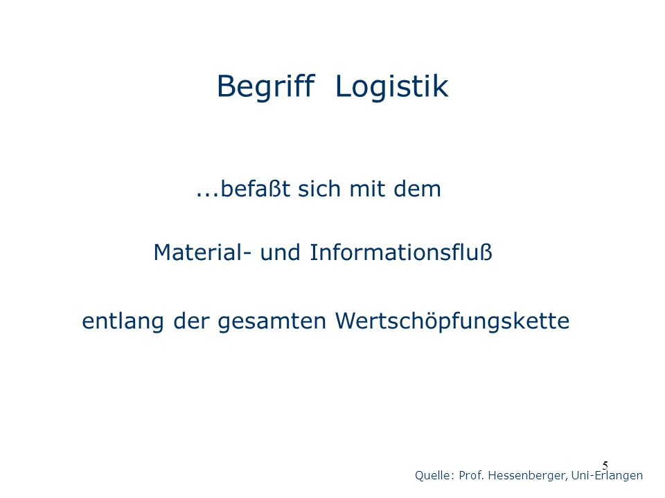 Begriff Logistik ...befaßt sich mit dem Material- und Informationsfluß