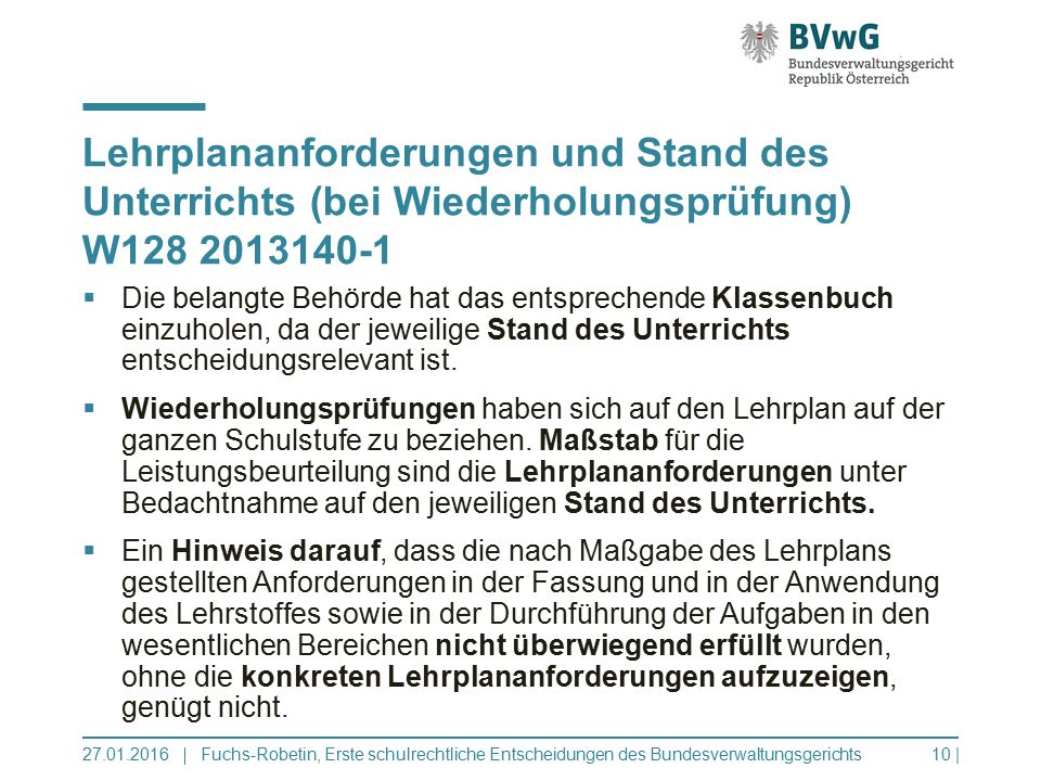 Lehrplananforderungen und Stand des Unterrichts (bei Wiederholungsprüfung) W128 2013140-1