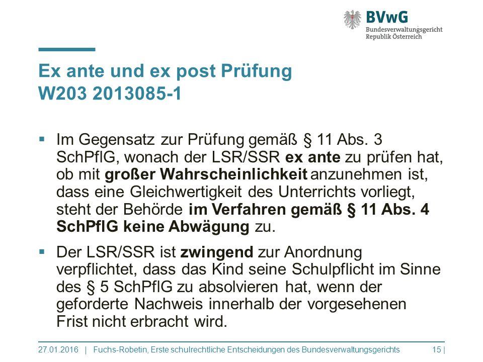 Ex ante und ex post Prüfung W203 2013085-1