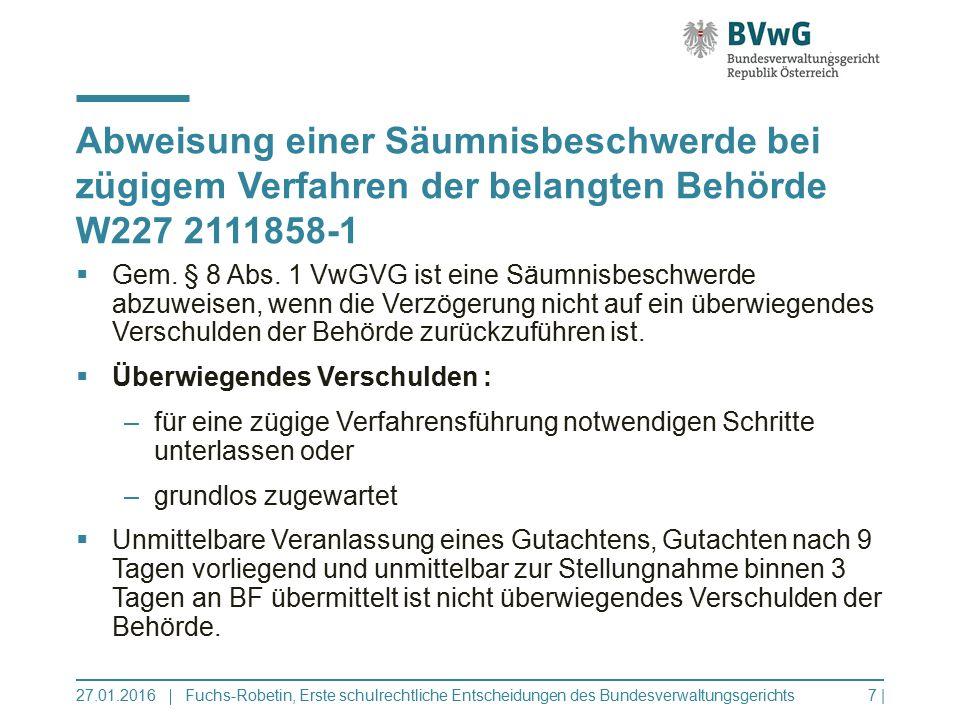 Abweisung einer Säumnisbeschwerde bei zügigem Verfahren der belangten Behörde W227 2111858-1