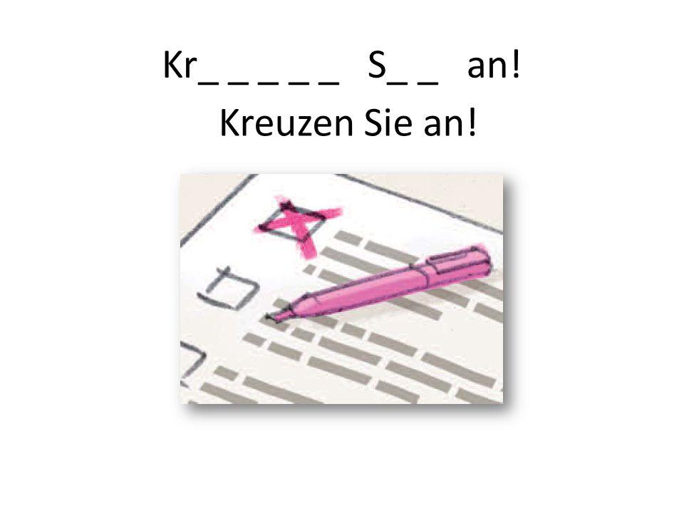 Kr_ _ _ _ _ S_ _ an! Kreuzen Sie an!