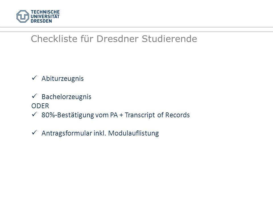 Checkliste für Dresdner Studierende