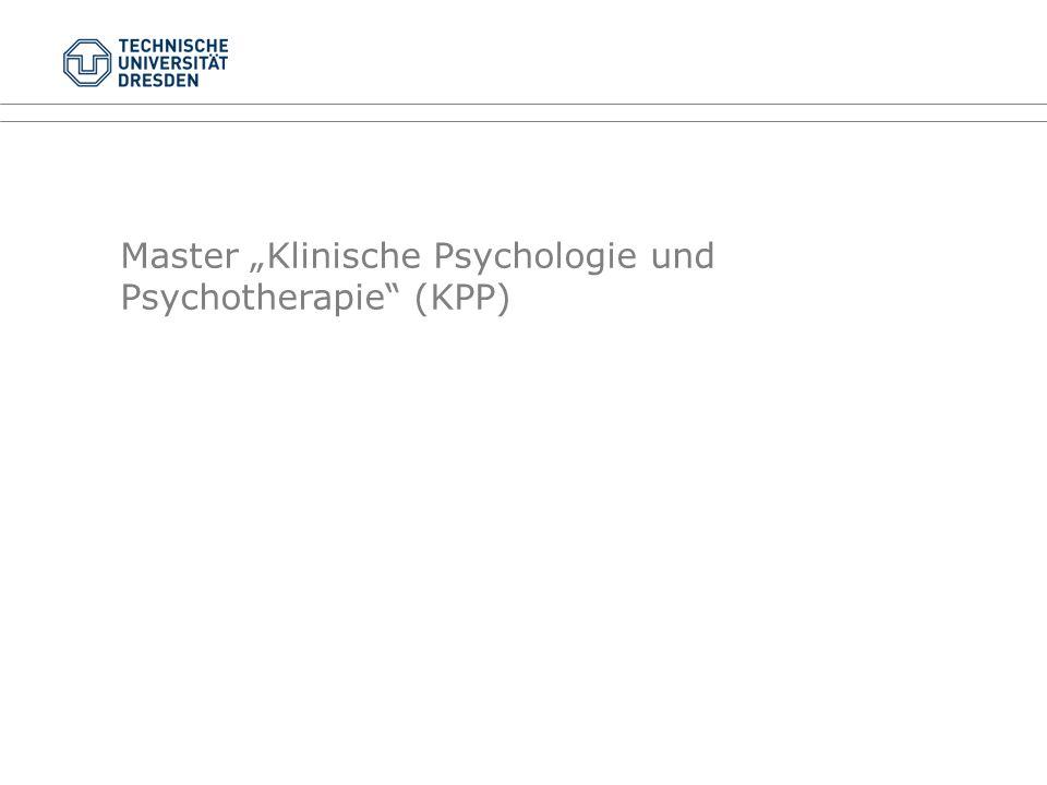 """Master """"Klinische Psychologie und Psychotherapie (KPP)"""