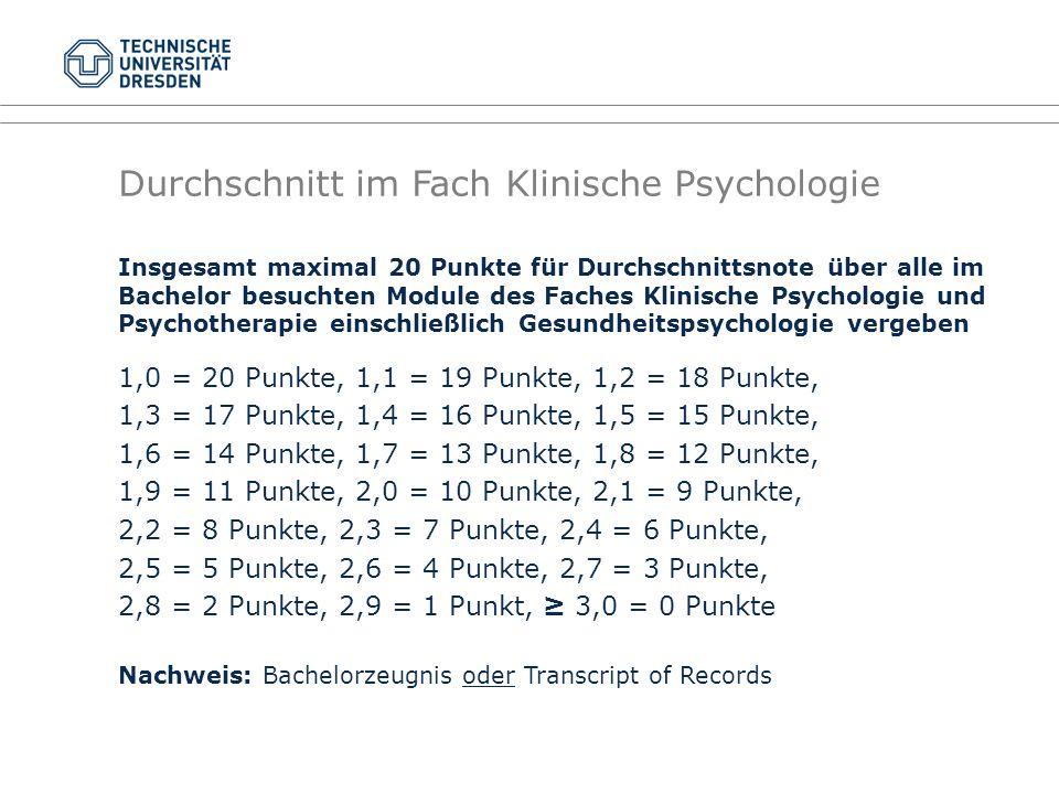 Durchschnitt im Fach Klinische Psychologie