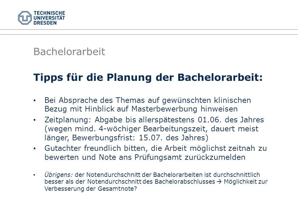 Tipps für die Planung der Bachelorarbeit: