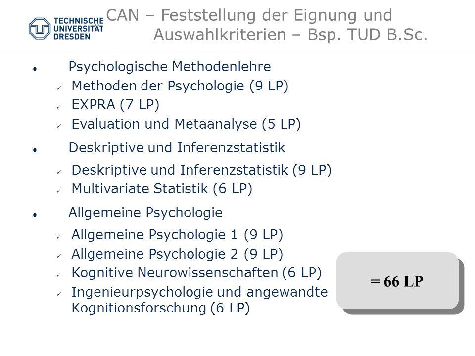 CAN – Feststellung der Eignung und Auswahlkriterien – Bsp. TUD B.Sc.