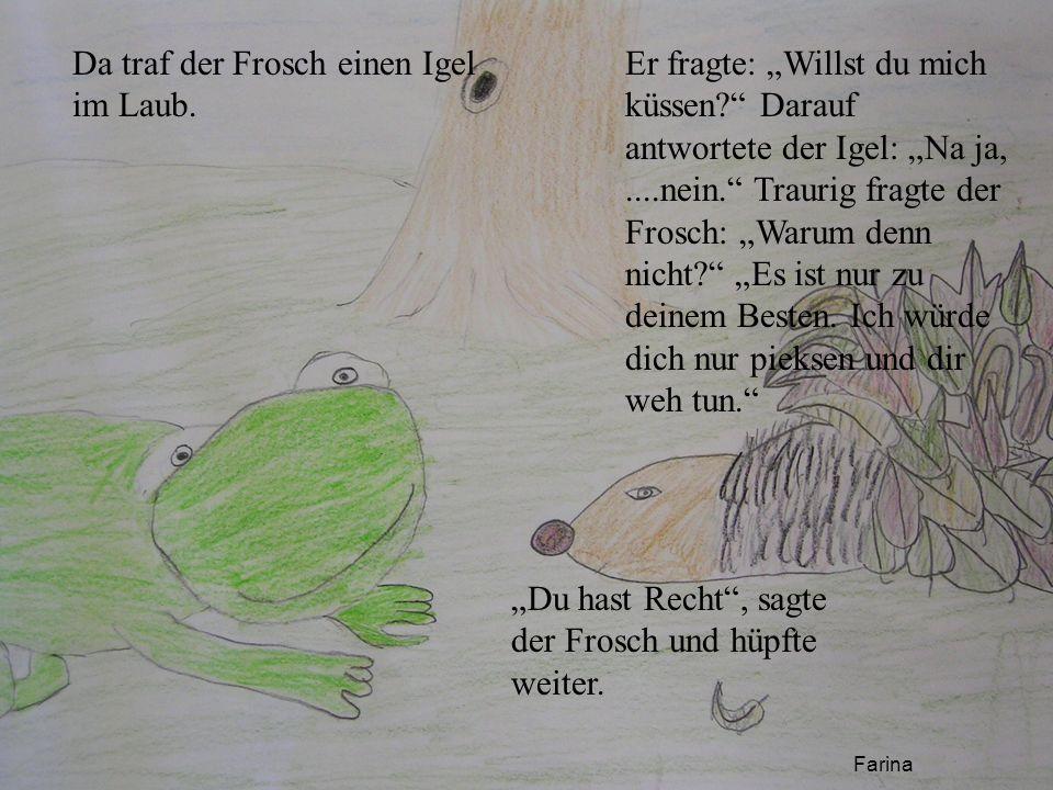 Da traf der Frosch einen Igel im Laub.