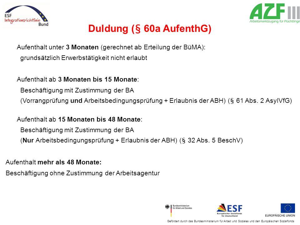 Duldung (§ 60a AufenthG) Aufenthalt unter 3 Monaten (gerechnet ab Erteilung der BüMA): grundsätzlich Erwerbstätigkeit nicht erlaubt.